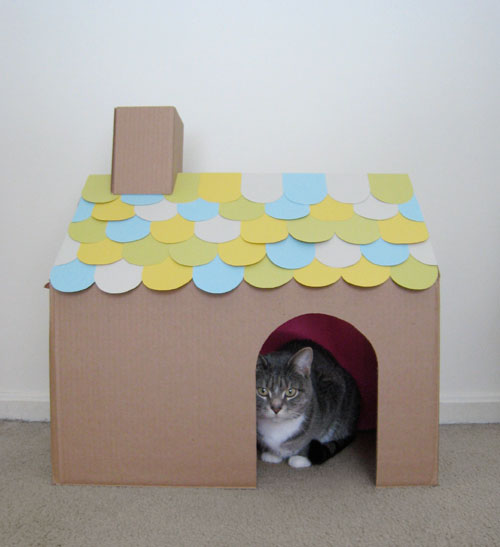 My Second Project Is This Cute Little Cardboard Cat House That I Made While  Watching The Golden Globes. Basically I Had Been Really Wanting To Buy My  ...